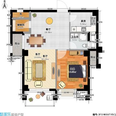 百盛国际名都1室1厅1卫1厨73.00㎡户型图