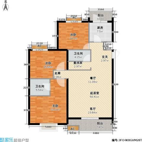 栖美国际3室0厅2卫1厨148.00㎡户型图