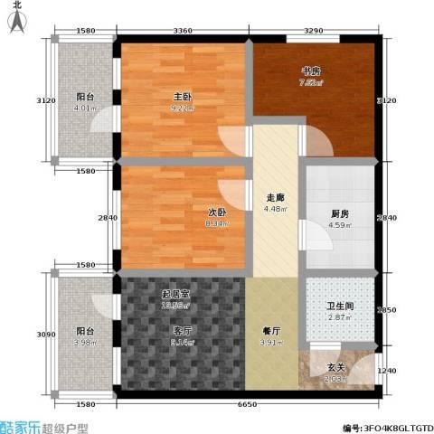 康泽园3室0厅1卫1厨80.00㎡户型图