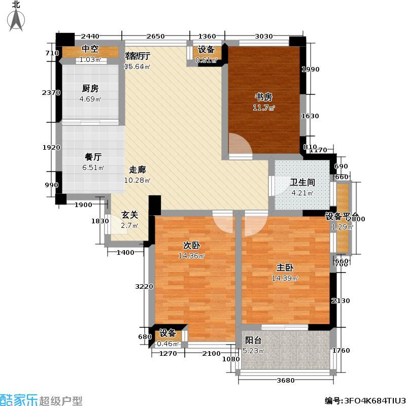 府河名居户型3室1厅1卫1厨