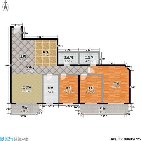 盛今大厦3室1厅2卫1厨145.00㎡户型图
