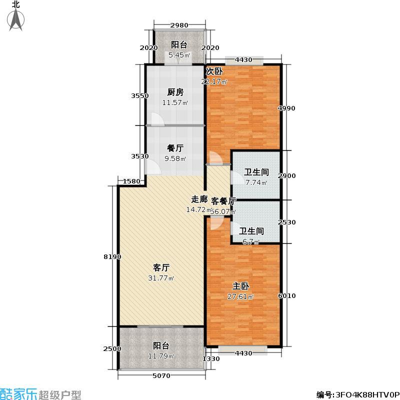 汇丰家园97.77㎡二室二厅二卫户型