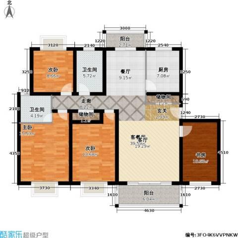 月泉湾名邸4室1厅2卫1厨134.00㎡户型图