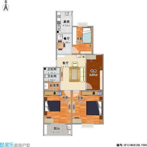 康华小区4室2厅2卫1厨104.00㎡户型图