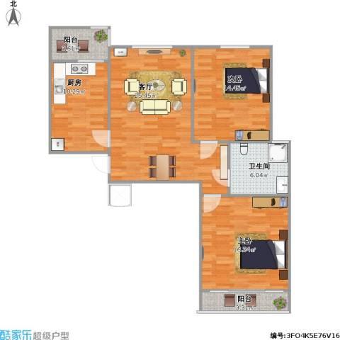 第一街区傲湖2室1厅1卫1厨85.00㎡户型图
