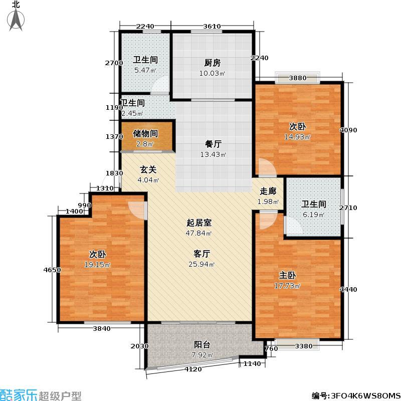 祜欣公寓房型户型3室2卫1厨