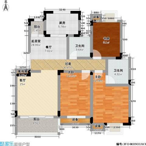 天鹅湖花园3室0厅2卫1厨97.00㎡户型图