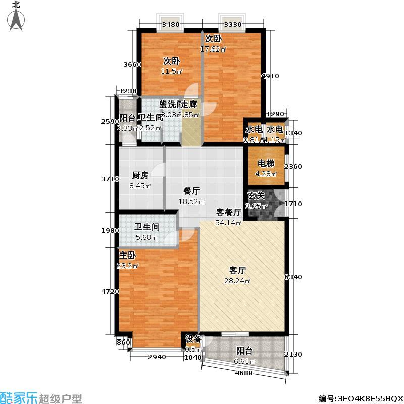 官苑八号176.81㎡1单元3-14层A2-3室2厅2卫户型