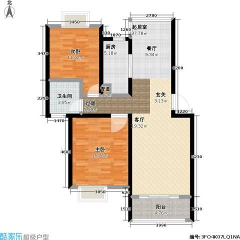 天鹅湖花园2室0厅1卫1厨92.00㎡户型图