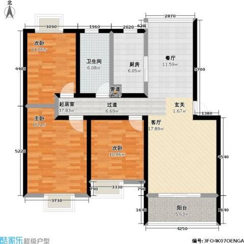 天鹅湖花园3室0厅1卫1厨108.00㎡户型图