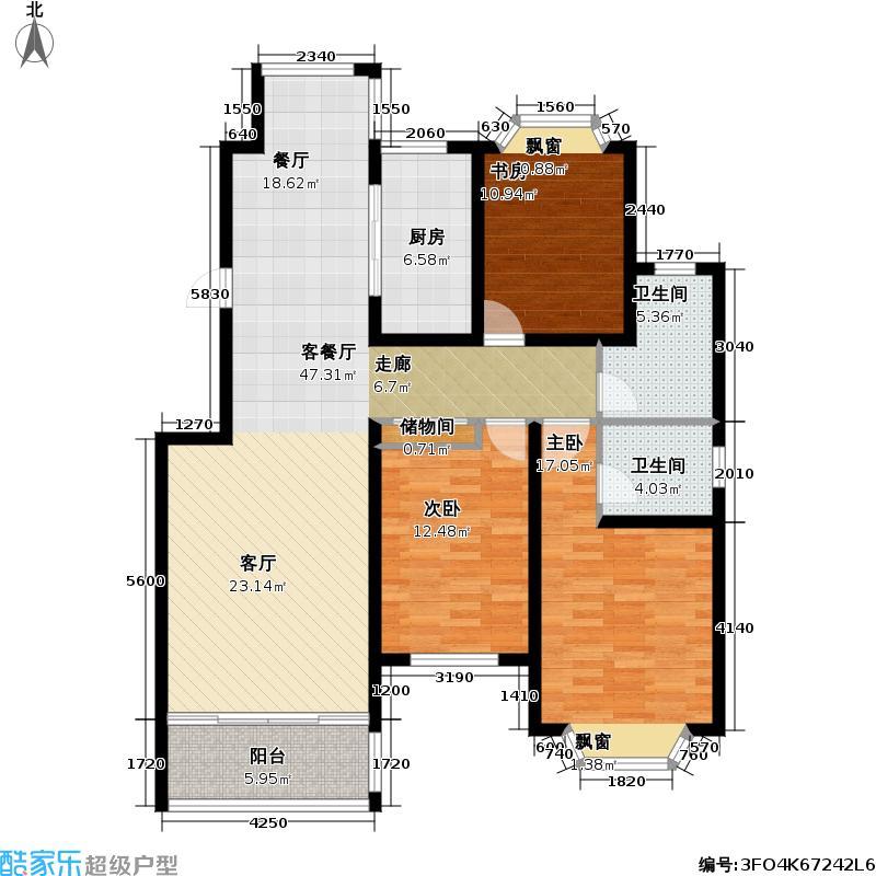 青岛红状元社区139.00㎡B12户型3室2厅2卫