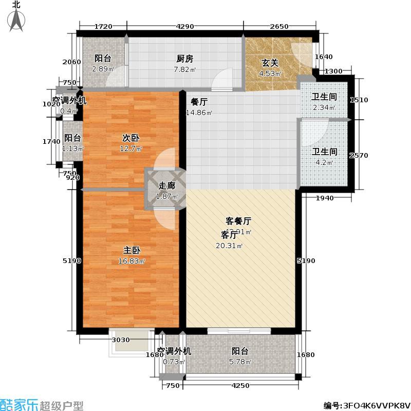 月泉湾名邸107.1平方米两房南北通户型