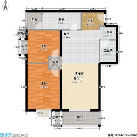 月泉湾名邸2室1厅1卫1厨107.00㎡户型图