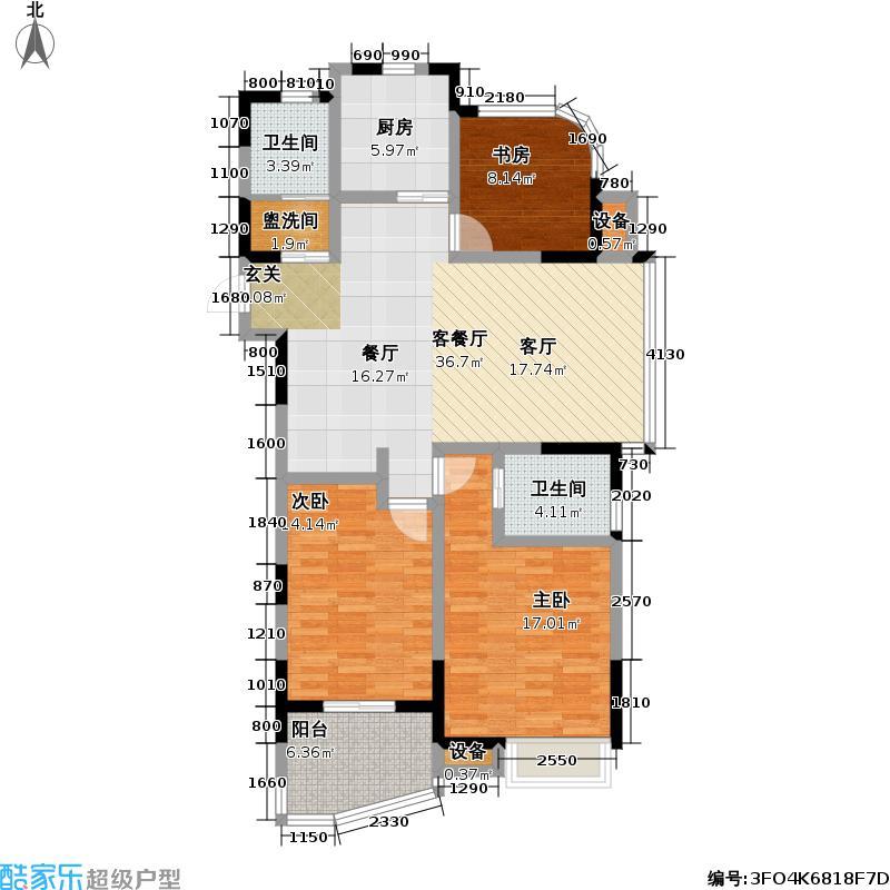天翼御品A1户型3室1厅2卫1厨