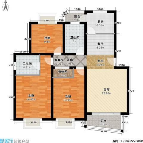 月泉湾名邸3室1厅2卫1厨116.00㎡户型图