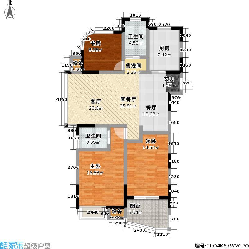 天翼御品114.00㎡天翼御品户型图天翼御品A2户型3室2厅2卫(5/6张)户型3室2厅2卫