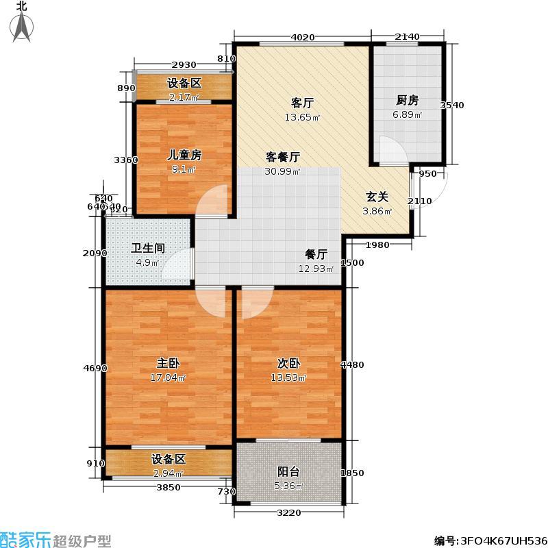 兰陵尚品户型3室1厅1卫1厨