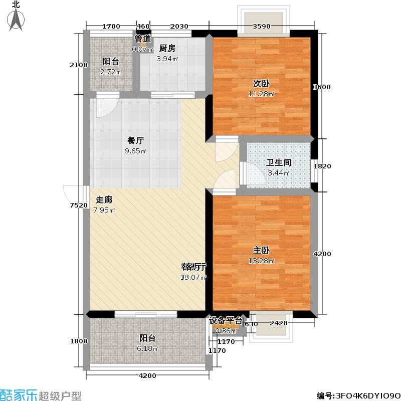 银湖水榭91.00㎡C6户型 二室二厅一卫户型2室2厅1卫