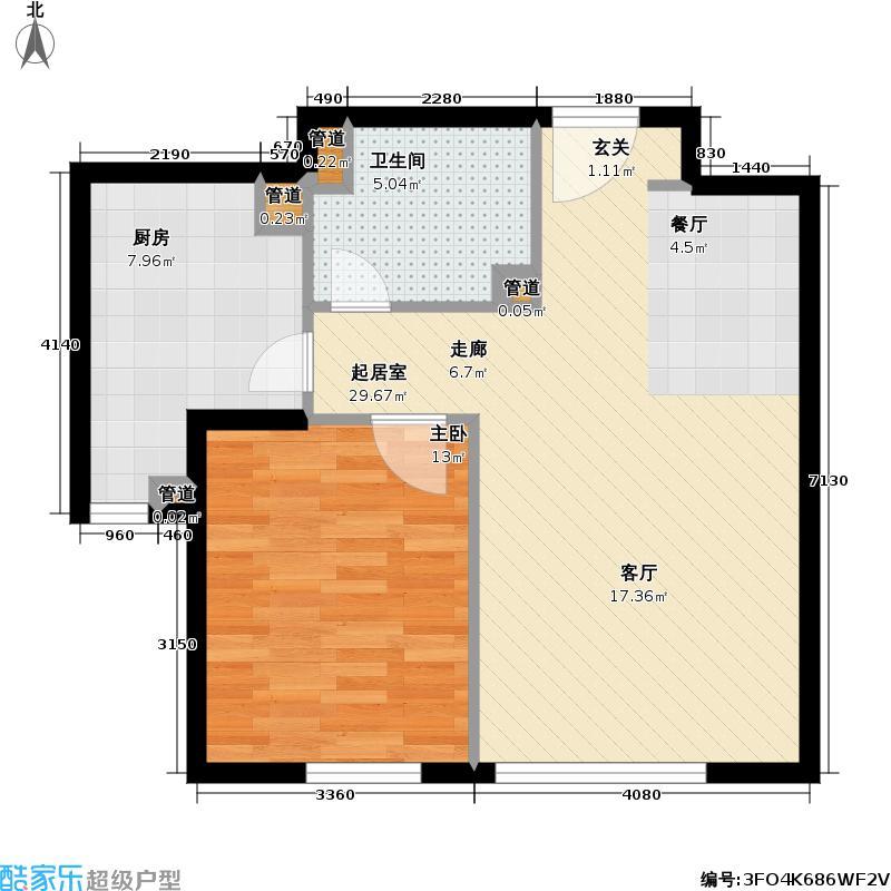 天泰美立方63.00㎡天泰城美立方户型图(1/2张)户型1室1厅1卫