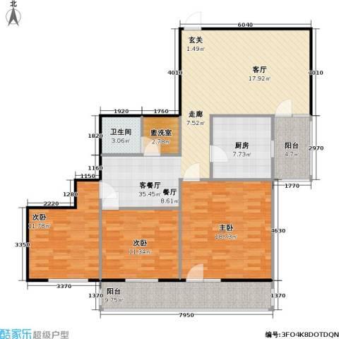 地铁古城家园3室1厅1卫1厨115.00㎡户型图