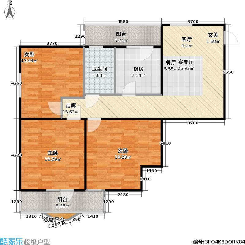 地铁古城家园103.71㎡三室一厅户型