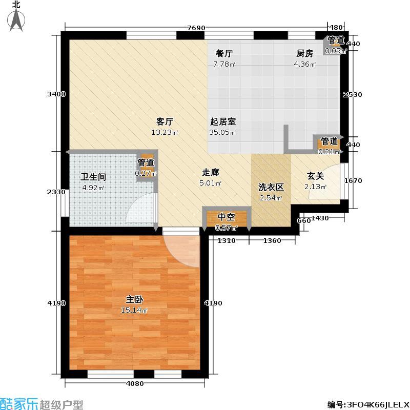 天泰美立方63.00㎡天泰城美立方户型图(2/2张)户型1室1厅1卫