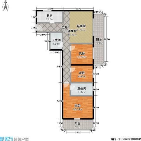 盛今大厦3室1厅2卫1厨124.00㎡户型图