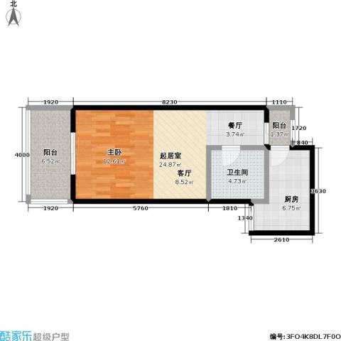 鼎晟国际1卫1厨50.45㎡户型图