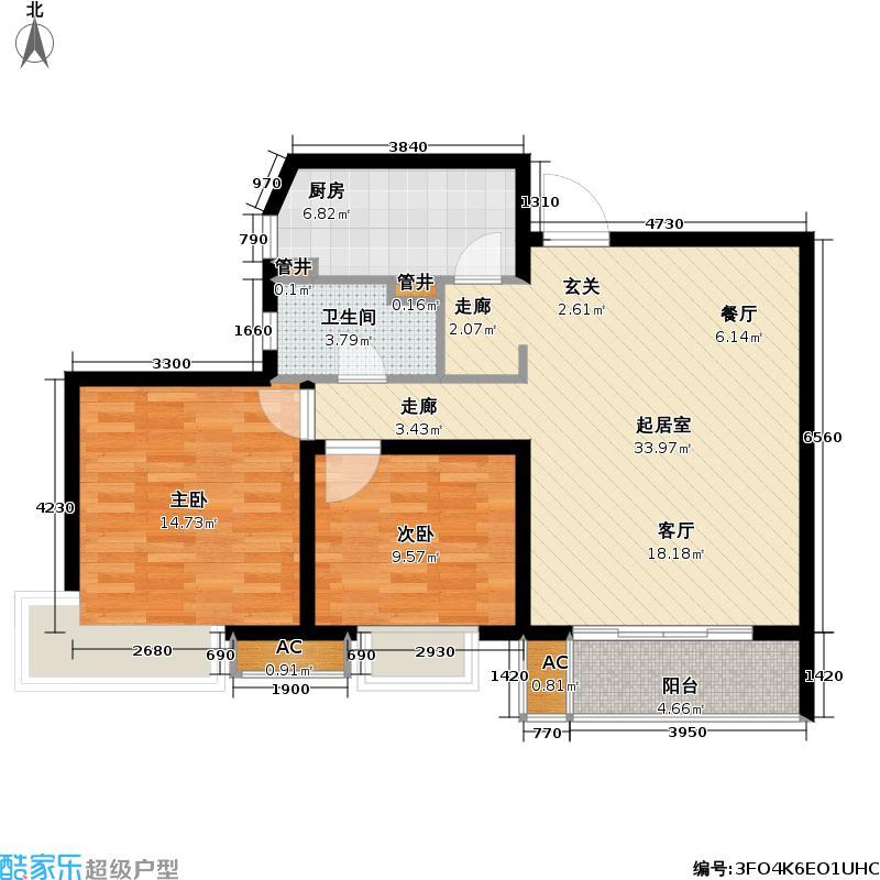 枫情水岸86.60㎡枫情水岸户型图二房二厅一卫-86.6平方米(2/2张)户型10室