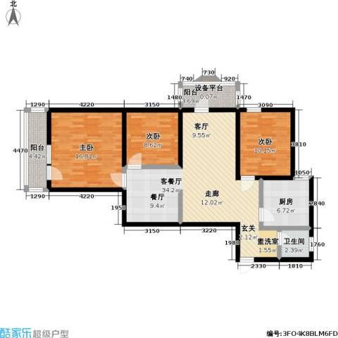 地铁古城家园3室1厅1卫1厨104.00㎡户型图