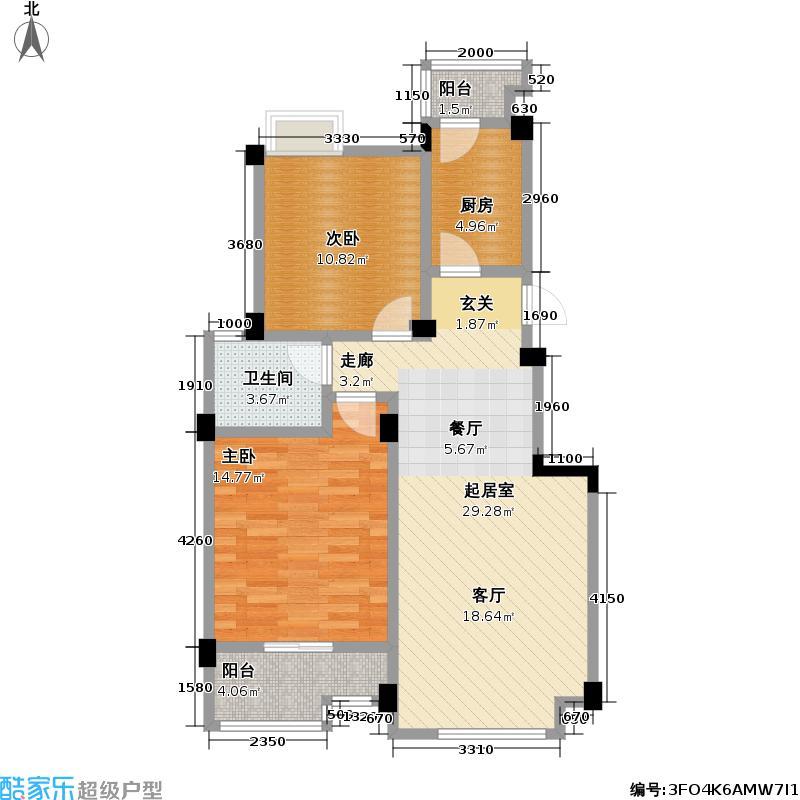 水域天际A2户型:两房两厅一卫:88平米户型