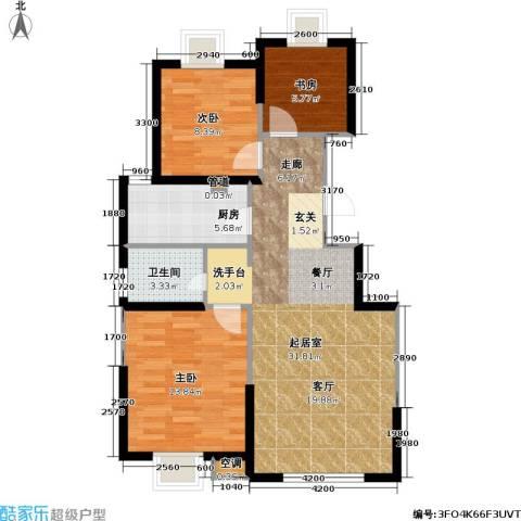 顺义金宝城3室0厅1卫1厨90.00㎡户型图