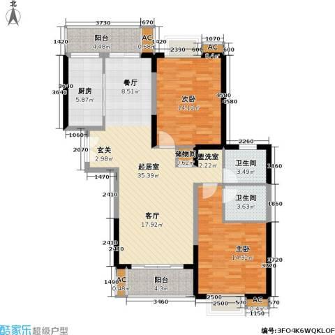 名都新城四期2室0厅2卫1厨102.00㎡户型图