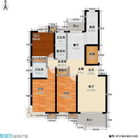 恒联新天地花园一期3室0厅2卫1厨124.00㎡户型图