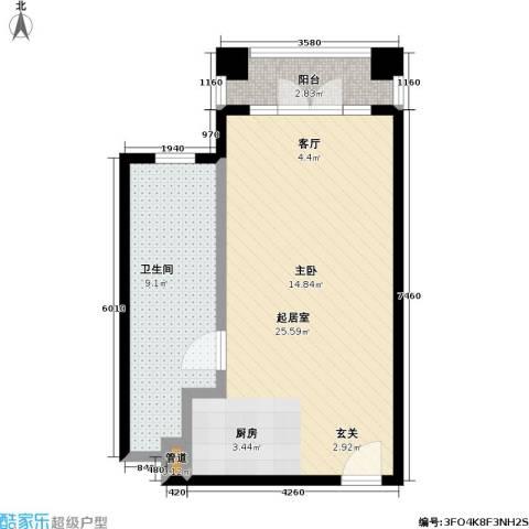 汤INN温泉酒店式公寓1卫0厨43.00㎡户型图