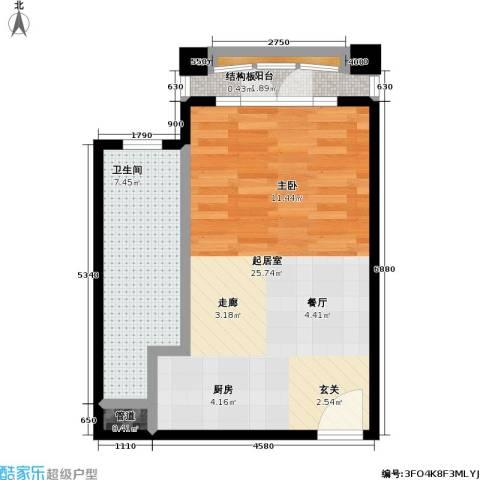 汤INN温泉酒店式公寓1卫0厨51.00㎡户型图