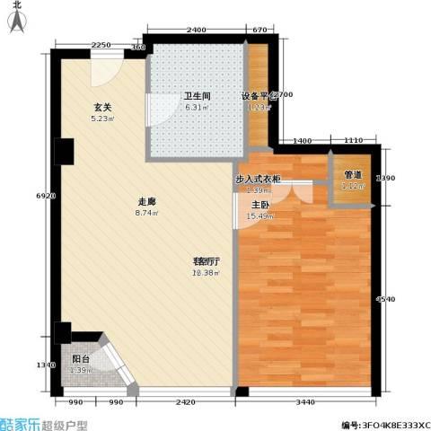 港湾国际1室1厅1卫0厨60.00㎡户型图