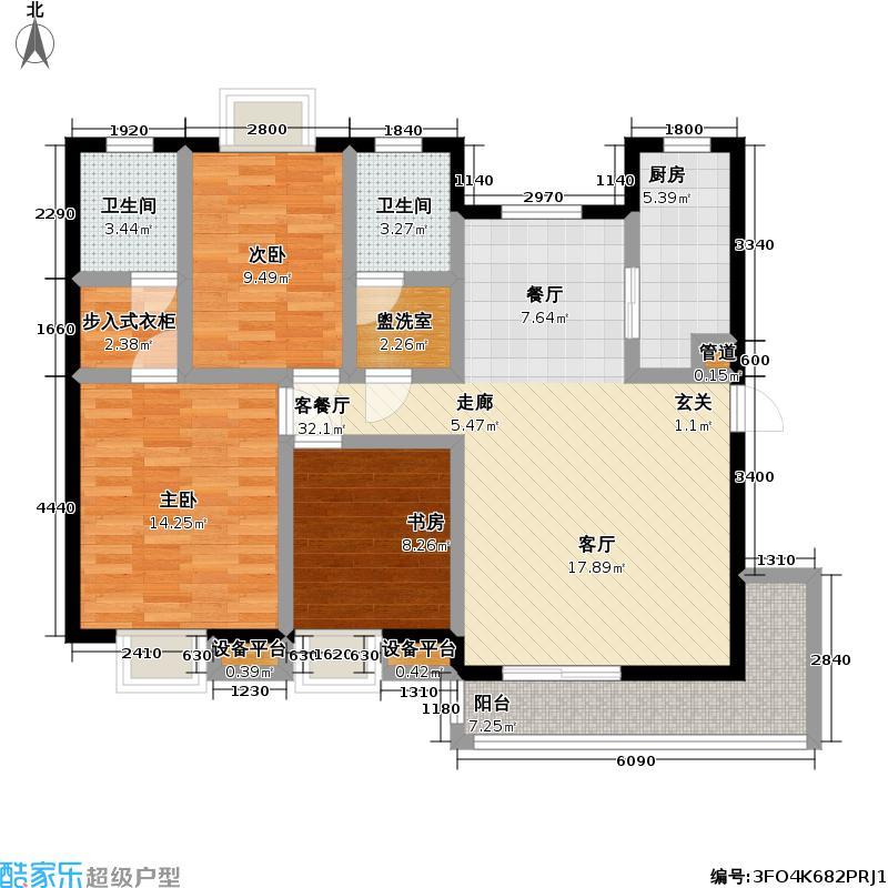 银湖水榭118.77㎡银湖水榭B4-1户型三室两厅两卫户型3室2厅2卫