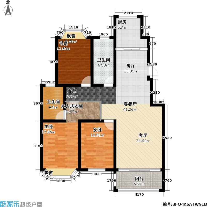 青岛红状元社区132.50㎡B22户型3室2厅2卫