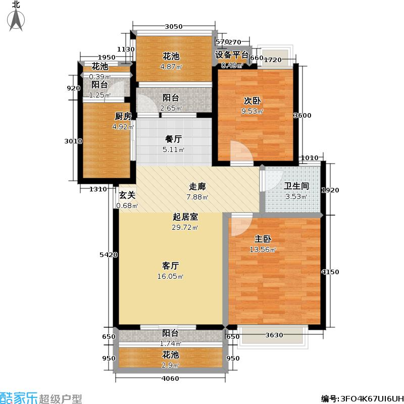 水域天际81.22㎡A3户型2室2厅1卫