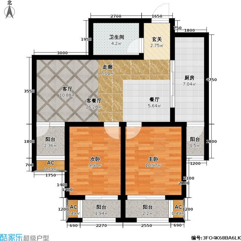福顺嘉苑5号楼D2户型2室1厅1卫1厨
