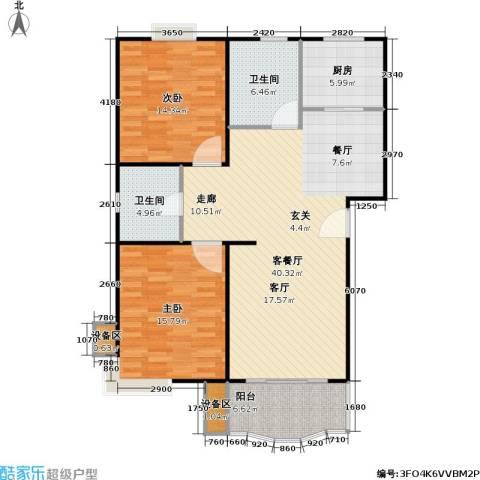 乾宁园2室1厅2卫1厨96.16㎡户型图