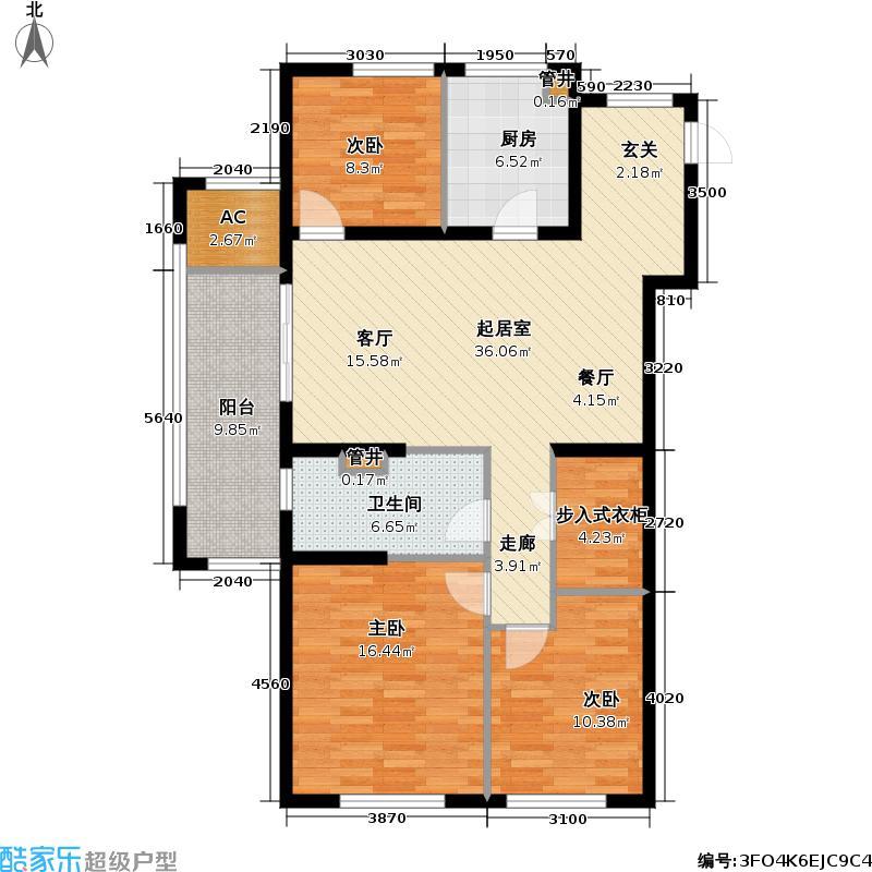 尚玲珑115.00㎡尚玲珑户型图三室两厅一卫(3/7张)户型3室2厅1卫
