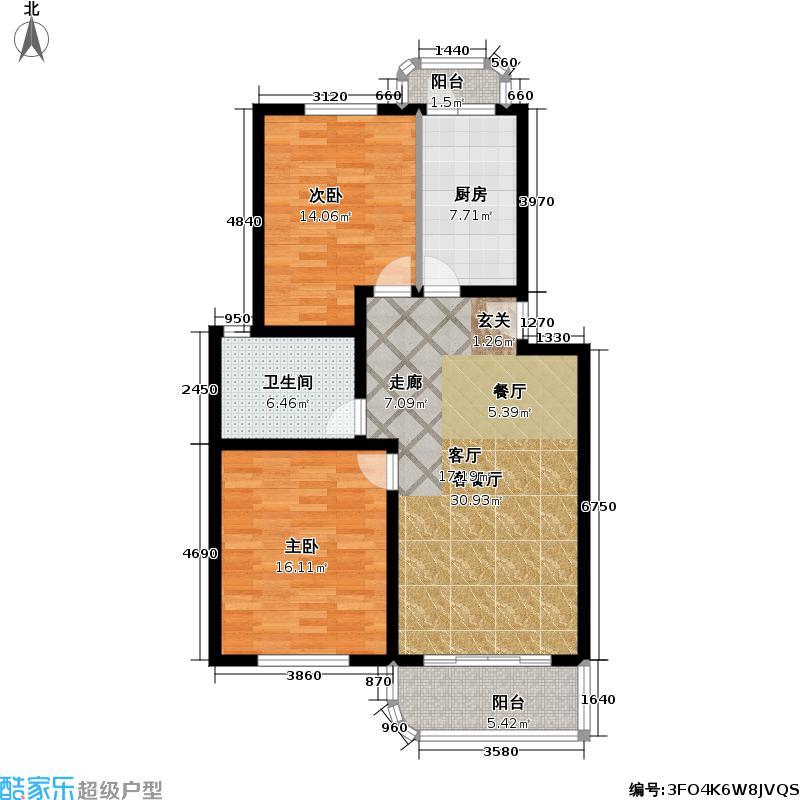 芳沁苑房型: 二房; 面积段: 85 -91 平方米; 户型