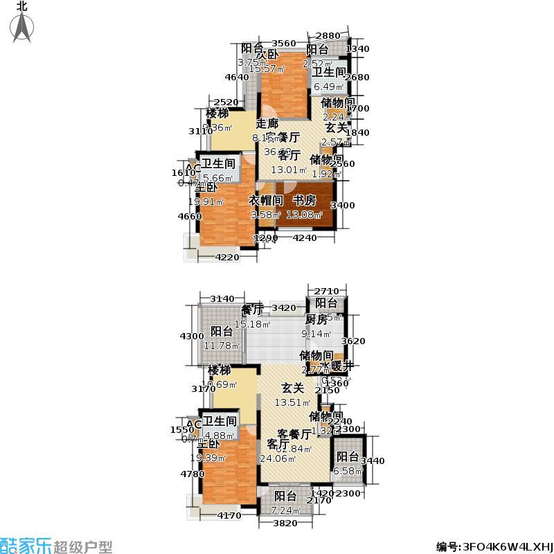 天然居一期房型: 复式; 面积段: 259.91 -313.54 平方米; 户型