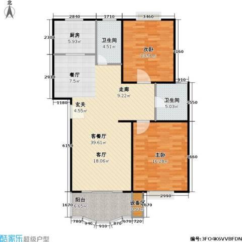 乾宁园2室1厅2卫1厨92.47㎡户型图