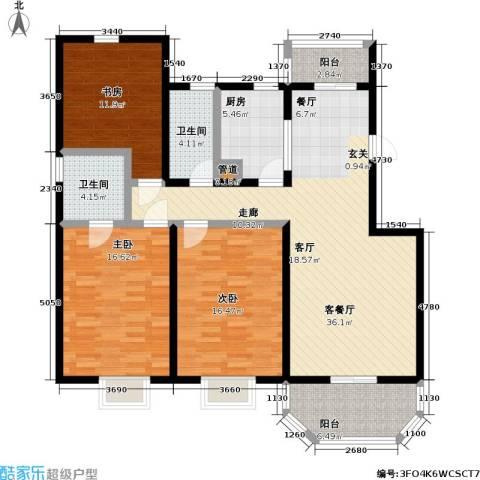上泰绅苑3室1厅2卫1厨151.00㎡户型图