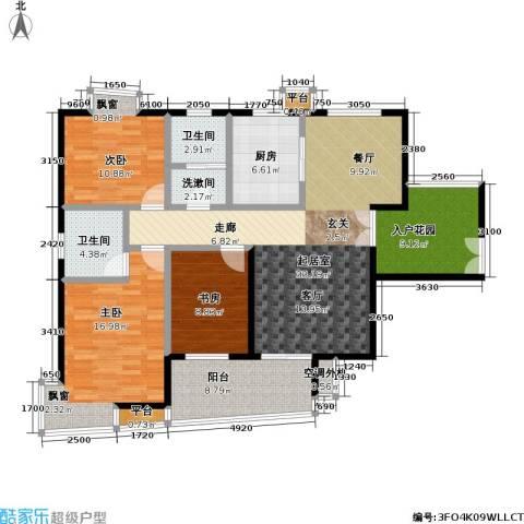 天隽峰3室0厅2卫1厨116.00㎡户型图