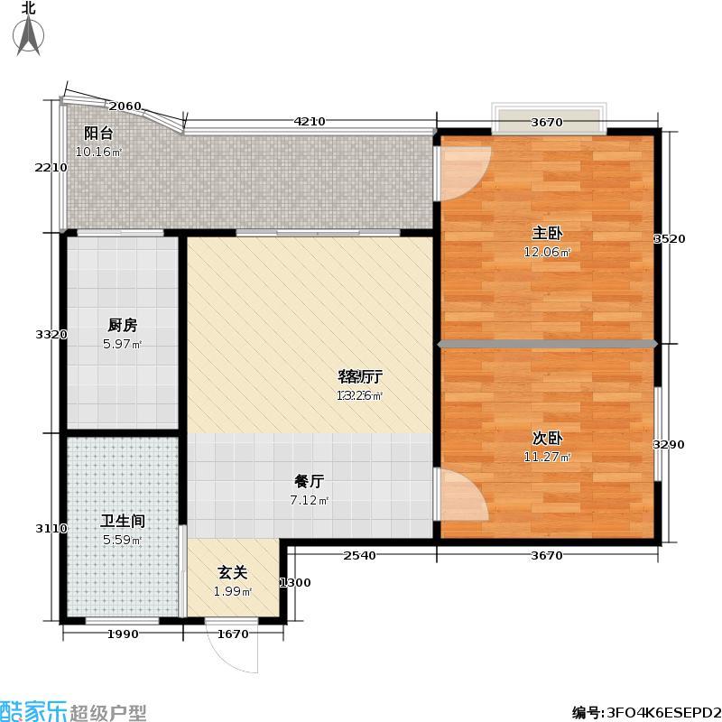 葛洪花园72.66㎡B2户型 2室2厅1卫户型2室2厅1卫