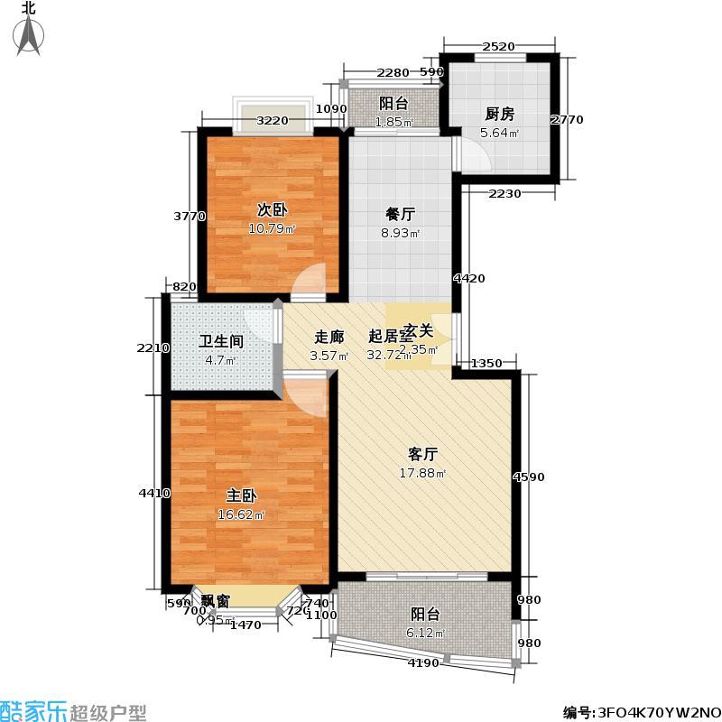 东方名园97.00㎡房型: 二房; 面积段: 97 -97 平方米; 户型